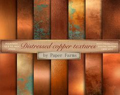 A collection of distressed copper textures. Includes fourteen 12 x 12 inch jpegs dpi). Need more metallic textures and backgrounds for your projects? Geometric Patterns, Aged Copper, Antique Copper, Art Deco, Bleu Turquoise Vintage, Color Cobre, Copper Color, Copper Paint Colors, Copper Colour Palette