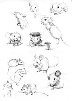 Seven Impossible Things Before Breakfast Animal Sketches, Animal Drawings, Drawing Sketches, Art Drawings, Mouse Illustration, Cute Animal Illustration, Art Tutorials, Cute Art, Art Inspo