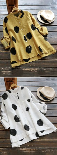 [Newchic Online Shopping] 48%OFF Gracila Womens Casual Blouses | Womens Polka Dot Blouses | Womens Long Sleeve Blouses | Womens Irregular Blouses | Womens Stand Collar Blouses