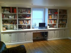 Exquisite White Wooden Built In Open Bookshelf Ideas With Laptop Office Desk Also Door Storage As Inspiring Furnishing Home Library Designs