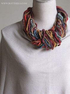 Crocheted full colors cowl jewelry noro yarn silk mohair wool by Botthéka http://bottheka.com/en/silk-garden