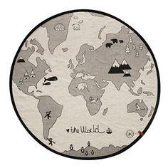 The world børnetæppe Ø 135 cm - beige-grå - OYOY