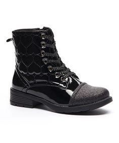 Another great find on #zulily! Black Embroidered Heart Lace-Up Boot #zulilyfinds