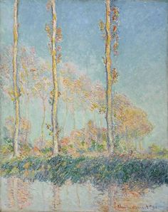 In the summer of Claude Monet began to paint a row of poplar trees that lined the river Epte near his house at Giverny. The trees were auctioned off for timber shortly thereafter, but Monet made. Monet Paintings, Impressionist Paintings, Landscape Paintings, Claude Monet, Oil On Canvas, Canvas Art, Tree Canvas, Philadelphia Museum Of Art, Philadelphia Pa