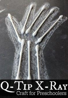 Q-Tip X-Ray Craft für Kinder im Vorschulalter – Health Tips – Gesundheitstipps Body Preschool, Preschool Science, Preschool Lessons, Preschool Classroom, Kindergarten, Body Parts Preschool Activities, April Preschool, Science Crafts, Science Art