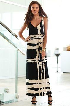 Black and white Flutter top Maxi dress - Boston Proper