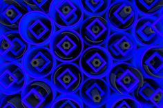 pattern of colored tubes repeated square elements black hexagons and