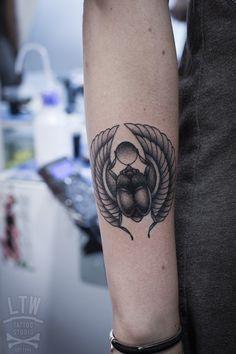 Egyptian beetle by Alexis, LTW Tattoo Studio Barcelona