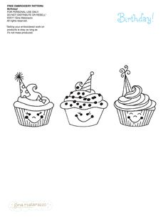 gina matarazzo design and illustration - embroidery patterns Cute Embroidery, Embroidery Patterns Free, Cross Stitch Embroidery, Candlewicking Patterns, Embroidery Works, Cupcake Crafts, Cool Coloring Pages, Coloring Sheets, Quilling Patterns