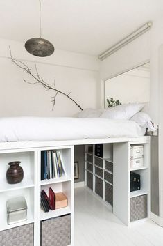 How to DIY a king size loft bed? - IKEA Hackers - - So I was thinking of getting a king size loft bed with space for a desk underneath. However, the biggest IKEA loft bed is only a double bed size. Room Ideas Bedroom, Small Room Bedroom, Bedroom Loft, Modern Bedroom, Master Bedroom, Bedroom Storage Ideas For Small Spaces, Contemporary Bedroom, Girls Bedroom Ideas Ikea, Small Bedroom Ideas For Teens