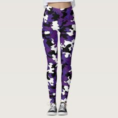 This a cute a sassy leggings. You're sure to make a bold statement when you step out wearing this purple print leggings.Wearing this legging with a long shirt is a great way how to style printed leggings fashion| camo print leggings| camo print leggings outfit pants #leggingstyle #stylishleggings #leggingsfashion #affiliatelink
