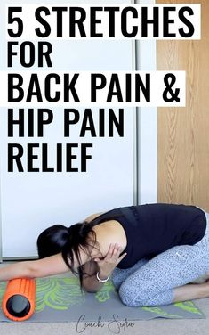 5 stretches for lower back pain, and mobility exercises to reduce hip pain and sciatica. These 5 stretches will help you open up your hips, release your hip flexors, and get relief from lower back pain. Topics: back pain stretches Lower Back Pain Stretches, Chronic Lower Back Pain, Back Exercises, Stretching Exercises, Shoulder Stretches, Exercise To Reduce Hips, Exercise Without Weights, Hip Pain Relief, Sciatica Relief