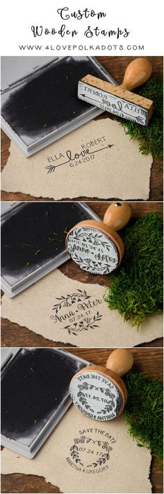 rustic country wooden stamps for wedding