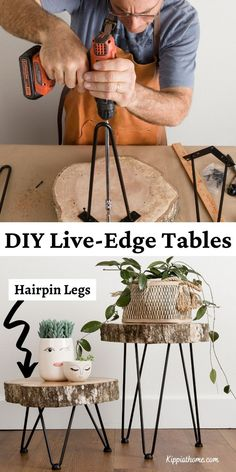 These DIY live-edge tables with hairpin legs turned out perfect! They add so much character to our home. From a fallen tree to groovy DIY side tables for under $5. See how we made them... Diy Furniture Projects, Diy Wood Projects, Furniture Makeover, Home Projects, Home Furniture, Furniture Design, Live Edge Furniture, Dresser Makeovers, Furniture Refinishing