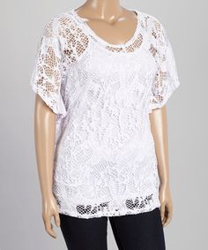 Another great find on #zulily! White Open-Knit Lace Top - Plus #zulilyfinds