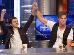 Pin for Later: 11 Reasons You'll Be Obsessed With New Spider-Man Tom Holland He's besties with Thor . . . Here he is on El Hormiguero sharing a cuppa and a moment with Chris Hemsworth while promoting their film In the Heart of the Sea.