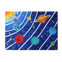 Art for Kids SOLAR SYSTEM No3 16x12 acrylic canvas by nJoyArt
