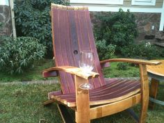 Wine-Holding Adirondack Chair - They're actually made out of recycled wine barrels!