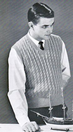 f177b4d69 Men s Chain Cable Vest Knitting Pattern PDF   Sizes 36