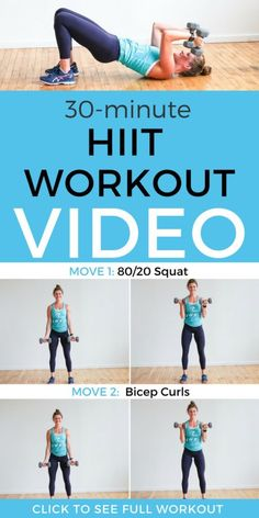 Grab this full workout video to help you get fit at home and reach your wellness goals! This HIIT workout is the perfect way to strengthen your body and tone and tighten your problem areas. Click through for our free workout video! Hiit Workout Videos, Fitness Workouts, Hiit Workouts With Weights, Sixpack Workout, Hiit Workout At Home, 30 Minute Workout, Workout For Beginners, Free Workout, Ab Workouts
