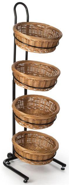 4 Tier Round Basket Stand, Height Adjustable, Wheels, Metal Frame, Wicker - Black