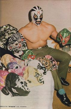 rocknwrestling: Mil Mascaras with a number of the masks he has worn over the course of his illustrious wrestling career! Which one is your favorite?