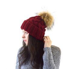Double Brim Knit Slouchy Hat with Large Fur Pom Pom   The Winona by Avaneska on Etsy