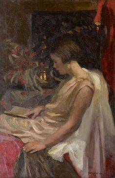 .:. A young girl reading - Jan Catharinus Adriaan Goedhart , 1929