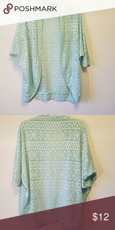 Like New Quarter Sleeve Patterned Mesh Cardigan Like new seafoam green open cardigan with lazer cut design. Maurices Sweaters Cardigans