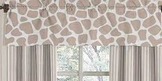 """Affordable giraffe print & stripe curtains are simple and don't scream """"baby"""" so also great for a big kid room."""