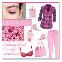 """National Breast Cancer Awareness Month"" by veronica7777 ❤ liked on Polyvore featuring Mode, Converse, Boohoo, Victoria Beckham, maurices, Lancôme, STELLA McCARTNEY und Olivia Pratt"