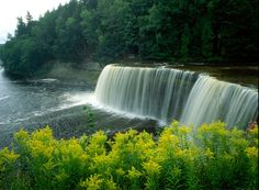 Tahquamenon Falls State Park is located in Michigan's Upper Peninsula.  This state park has over 22 miles of hiking trails for people to explore.