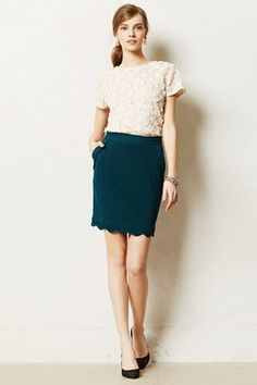 Darling Scalloped Brink Pencil Skirt, $78, available at Anthropologie. 18 Pencil Skirts For After-Hours Fun #refinery29