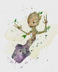 Groot Watercolor Art