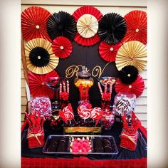 Black, red and gold candy table gold candy, birthday, gold birthday pa Red And Black Table Decorations, Red Party Decorations, Decoration Table, Quinceanera Decorations, Centerpiece Ideas, Birthday Decorations, Casino Night Party, Casino Theme Parties, Party Themes