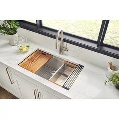 "Ruvati Roma Workstation Ledge 32"" L x 19"" W Undermount Kitchen Sink & Reviews | Wayfair"
