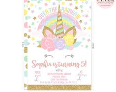 Unicorn Birthday Invitation Magical Unicorn Birthday Invitation Magical Unicorn Party Pink Gold Unicorn Whimsical Unicorn Birthday Party