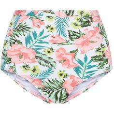 White Tropical Print High Waisted Bikini Bottoms (13 AUD) ❤ liked on Polyvore featuring swimwear, bikinis, bikini bottoms, shorts, swim, swimsuits, swimsuits two piece, high waisted swim suit, high waisted swimsuit and white bikini bottoms