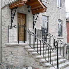 Exterior Railings – Dufferin Iron & Railings Exterior Stair Railing, Outdoor Stair Railing, Front Porch Railings, Wrought Iron Stair Railing, Front Verandah, Balcony Railing, Iron Railings, Balcony Grill, Iron Balcony