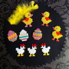 Easter hama beads by dorismakes by lacey Perler Bead Templates, Pearler Bead Patterns, Perler Patterns, Hama Beads Animals, Easter Bunny Colouring, Safety Pin Crafts, Beading For Kids, Hama Beads Design, Peler Beads