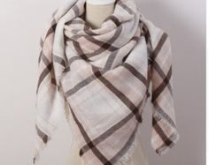 Brand New Design Women's Fashion Scarf Top quality Blankets Soft Cashmere Winter warm Square Plaid Shawl Size Cashmere Pashmina, Pashmina Scarf, Plaid Scarf, Cozy Scarf, Women's Wraps And Shawls, Wrap Clothing, Triangle Scarf, Pink Triangle, Triangle Pattern