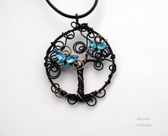 Tree of life black wire pendant with butterflies by Ianira on Etsy