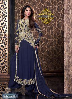 Designer Blue Coloured Semi-Stitched Anarkali Suit
