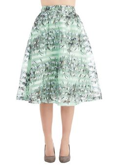 Watercolor the World Skirt. The world brightens up a bit when you wear this mint-blue skirt! #gold #prom #modcloth
