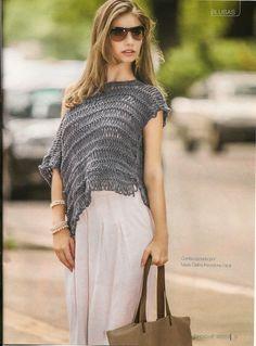 Mussambe: Elegante blusa em crochê de grampo!!