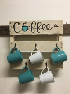 Coffee Cup Rack, Coffee Mug Display, Coffee Mug Holder, Coffee Mugs, Coffee Shop, Coffee Bar Home, Home Coffee Stations, Coffee Corner, Diy Home Crafts