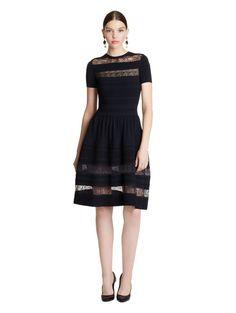 OSCAR DE LA RENTA Viscose-Blend Knit Dress with Lace Insets. #oscardelarenta #cloth #