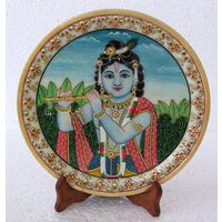 Krishna Painting On Marble Plate - Online shopping INDIA - Buy Handicrafts,Gifts, Crafts, home decor, Decorative, Indian Handicrafts, Paintings, Wall decor Items