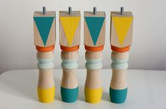 Nice Legs: 20 Fun Furniture Legs to Buy or DIY via Brit + Co. We love these geometric painted wooden legs. They can help tie together a color theme in your living room, even if your couch is on the neutral side. (via Morning By Foley)