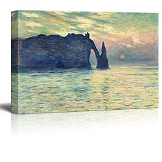 Wall26  The Cliff Etretat Sunset by Claude Monet  Canvas Print Wall Art Famous Painting Reproduction  24 x 36 * See this great product.Note:It is affiliate link to Amazon. #commentbackteam